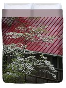 White Dogwood In The Rain Duvet Cover