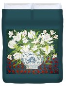 White Double Tulips And Alstroemerias Duvet Cover