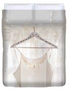 White Dress On Clothes Hanger Duvet Cover