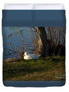 White Duck Resting Duvet Cover