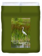 White Egret In Waiting Duvet Cover