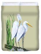 White Egrets And White Lillies Duvet Cover