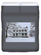 White Farm House During Winter Duvet Cover