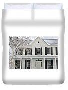 White Farm House In Winter Duvet Cover