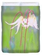 White Fawn Lilies In The Rain Duvet Cover