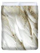 White Feathers With Gold Duvet Cover