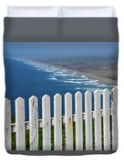 White Fence And Waves Duvet Cover
