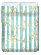 White Finger Starfish Watercolor Stripe Pattern Duvet Cover