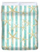 White Finger Starfish Watercolor Stripe Pattern Duvet Cover