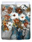 White Flower In Vase And Mug Duvet Cover
