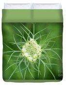White Flower Spidery Leaves Duvet Cover