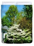 White Flowering Tree Duvet Cover