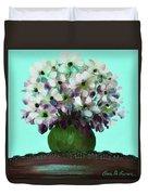 White Flowers In A Vase Duvet Cover
