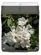 White Flowers On Green Leaves Duvet Cover