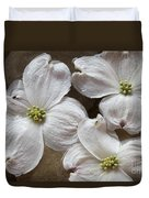 Dogwood White Flowers On Stones Duvet Cover