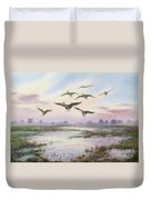 White-fronted Geese Alighting Duvet Cover by Carl Donner