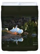 White Geese In A Park With Water Reflection Duvet Cover