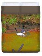 White, Geese, On, Pond Duvet Cover