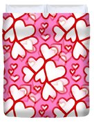 White Hearts - Valentines Pattern Duvet Cover