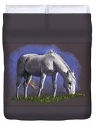 White Horse Grazing Duvet Cover