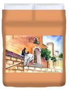 White Horses By The Cathedral In Palma De Mallorca 02 Duvet Cover