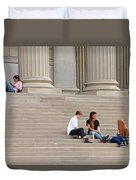 Hanging Out On Steps Duvet Cover