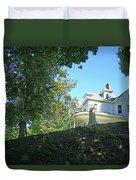 White House With Hillside Shade Duvet Cover