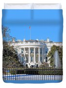 White House South Lawn With Snow Duvet Cover