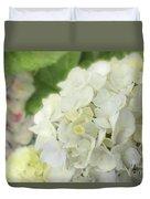 White Hydrangea At Rainy Garden In June, Japan Duvet Cover