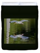 White Ibis And Reflection Duvet Cover