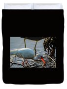 White Ibis Eating Duvet Cover