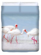 White Ibis Feeding 2 By Darrell Hutto Duvet Cover