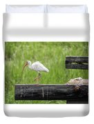 White Ibis Stepping Out Duvet Cover