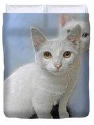 White Kittens Duvet Cover
