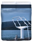 White Ladder Of A Diving Board At The Beach In Cres Duvet Cover