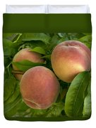 White Lady Peaches On A Branch Duvet Cover