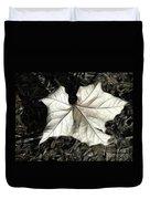 White Leaf On The Ground Duvet Cover