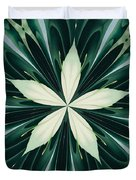 White Leaves In A Green Forest Kaleidoscope Duvet Cover