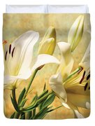 White Lilies On Amber Duvet Cover