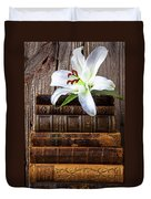 White Lily On Antique Books Duvet Cover