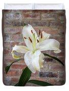 White Lily Portrait Duvet Cover