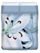 White Lily Triptych Part1 Duvet Cover