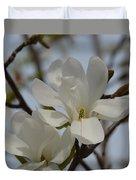 White Magnolia Blooming In Spring Duvet Cover