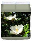 White Magnolia Flowers 01 Duvet Cover