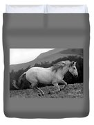White Mare Gallops #1 -  Close Up Black And White Duvet Cover