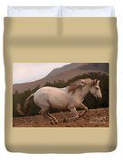White Mare Gallops #1 -  Close Up Brighter Duvet Cover