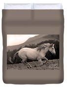 White Mare Gallops #1 -  Close Up Sepia Duvet Cover