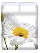White Matilija Poppy On White Duvet Cover