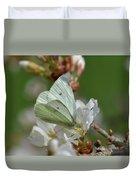 White Moth On Blossom Duvet Cover