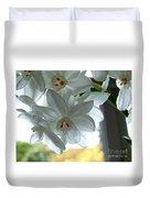 White Narcissi Spring Flower Duvet Cover